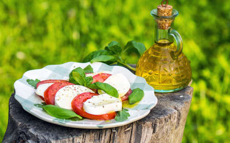 Classic Caprese Salad with Mozzarella Cheese, Tomatoes and Basil