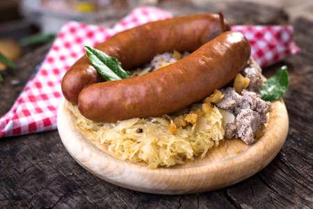 Sausages with sauerkraut and buckwheat mush