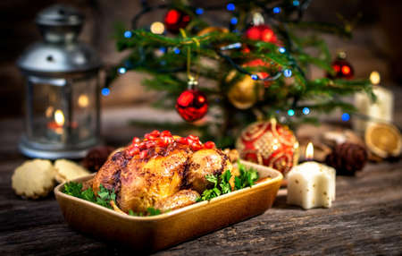 Roasted chicken for Christmas lunch Stock Photo
