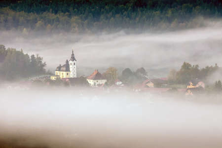 nerl: Church   hiding in the early morning fog