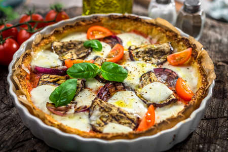 Vegetable pizza  with mozzarela  cheese, basil and olive oil Stock Photo