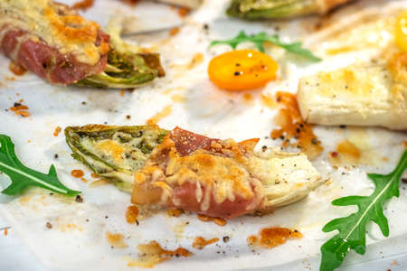 escarola: Roasted witlof with prosciutto and  mozzarella