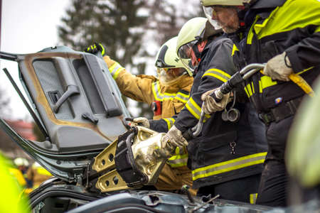 confined: Firefighter in action Stock Photo