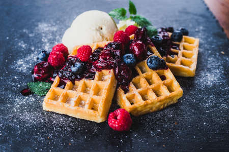 Waffles with icecream and berries