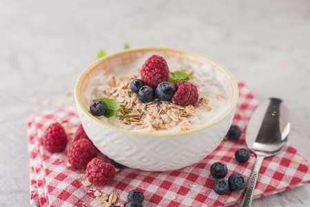 Yogurt with blueberry, raspberry and oatmeal flakes