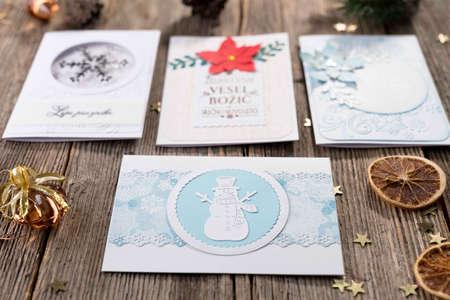 Homemade christmas card Standard-Bild