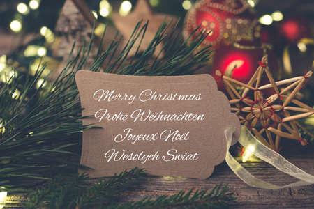 Merry christmas tag Standard-Bild