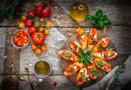Bruschetta with tomato, garlic and basil  Stock Photo