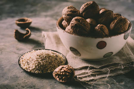 Organic walnuts in rustic cup