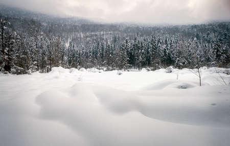 Winter landscape, snowy mountains
