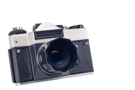 old vintage film camera isolated on white background