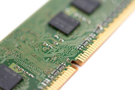 system, main memory, random access memory, computer detail, close-up, high resolution, isolated on white background