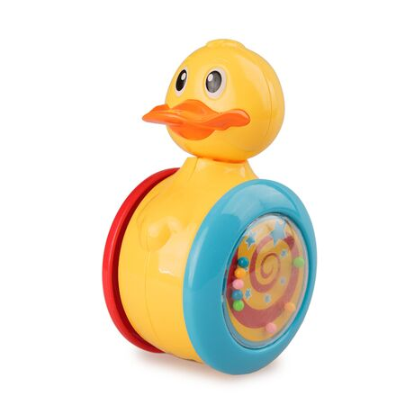 childrens toy duck tumbler rolling, isolated on white background, giro toy, roly poly