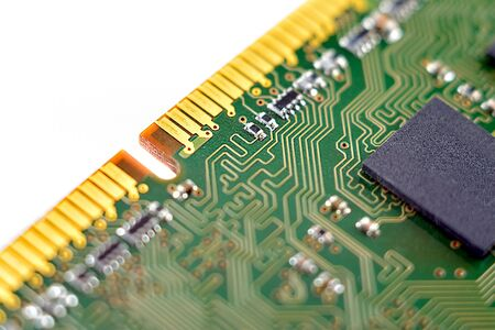 system and main memory, random access memory, computer detail, close-up, high resolution, isolated on white background