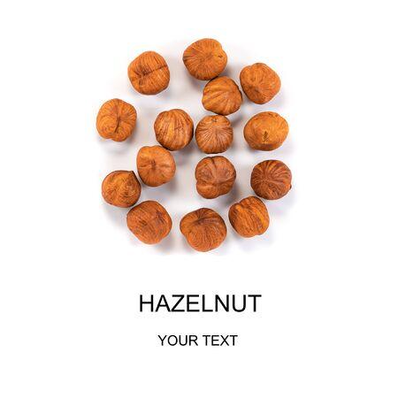 hazelnuts isolated on white background close-up macro, design, mockup Banque d'images - 138555416