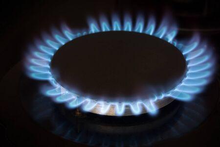 gas stove burner close-up, gas energy concept Zdjęcie Seryjne