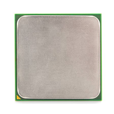 computer CPU close-up isolated on white background, front view