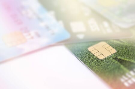 Bank cards close up, selective focus, light background 스톡 콘텐츠