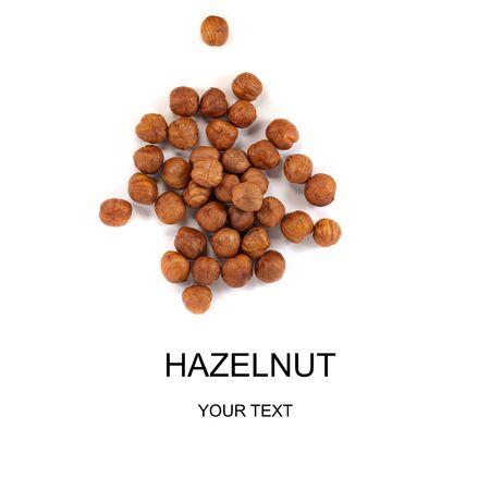 hazelnuts isolated on white background close-up macro, design, mockup