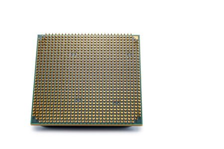 the lower side of modern multi-core multithreaded proceesor with the legs of the contacts, the microconstrictions of the CPU, the central processing unit structure, isolated on white background, selective focus