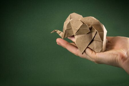 origami baby elephant craft paper on a green background on the hand, the concept of saving paper and forests, save paper, save the forest, protect wildlife, mockup, copy space