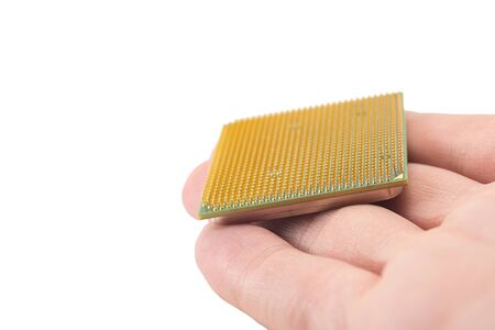 computer CPU in hand close-up isolated on white background Banque d'images