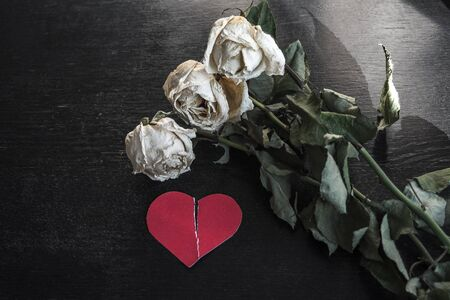 wilted rose flowers and torn in half a paper heart, the concept of a broken heart, breakup, divorce Stock Photo