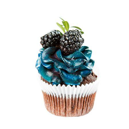mooie smakelijke cupcake met blauwe room en bosbessen en bramen, taarten handgemaakte desserts, close-up geïsoleerd op een witte achtergrond