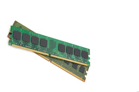 computer ram, system, main memory, random access memory, internal, onboard, computer detail, close-up, high resolution, isolated on white background Banque d'images