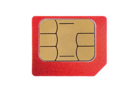 red SIM card isolated on white background, close-up, macro, high resolution, mock up, copy space 免版税图像