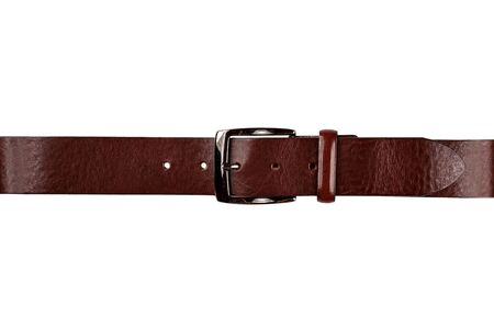 leather men's trouser belt fastened in lock isolated on white background