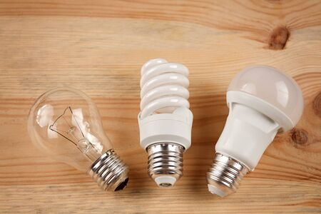 generations of light bulbs from incandescent and halogen bulbs to led bulbs, modern energy-saving technologies and environmental protection 스톡 콘텐츠