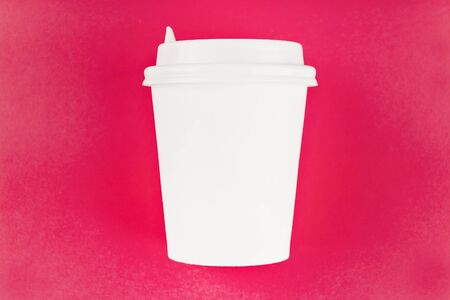 coffee cup cardboard disposable isolated on pink background, coffee to go, takeaway