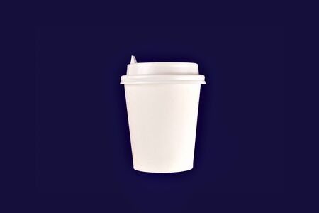 coffee cup cardboard disposable isolated on blue background, coffee to go, takeaway