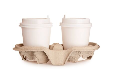 coffee cup cardboard disposable isolated on white background, coffee to go, takeaway