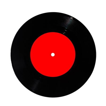 vintage old music record, vinyl record with pure red label isolated on white background, copy space, mock up