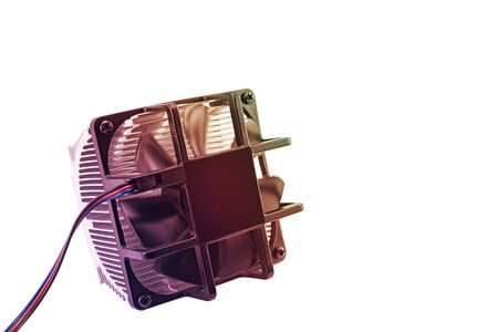 computer CPU cooling system. fan and radiator isolated on white background, toned