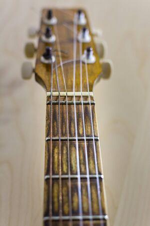 guitar strings and fretboard close-up, selective focus Banco de Imagens