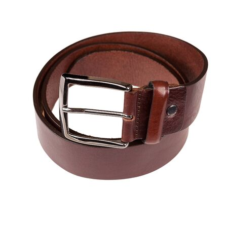 leather mens trouser belt isolated on white background