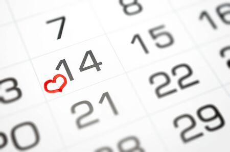 mark on the calendar February 14, Valentine's day soon, love, relationship Standard-Bild