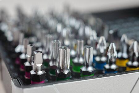 screwdriver bits set, macro, close-up, selective focus, screwdriver heads
