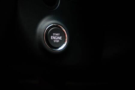 start stop button in the car, keyless ignition, ignition system in the car Standard-Bild