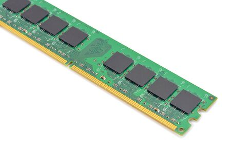 computer RAM, system, main memory, random access memory, onboard, computer detail, close-up, high resolution, isolated on white background
