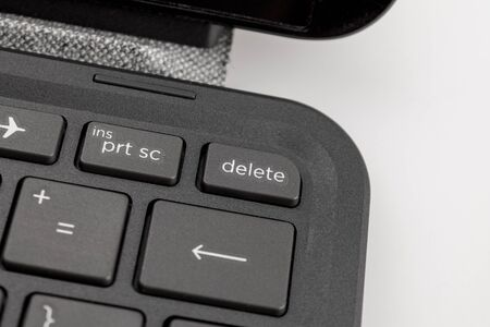 a key on the keyboard labeled delete, complete data destruction, formatting, loss of files and information, deleting and cleaning the device