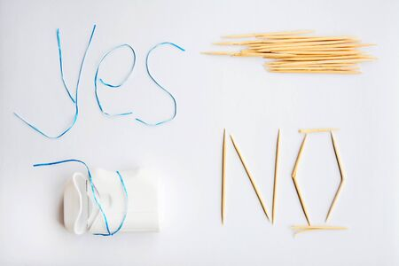 dental floss instead of toothpicks, the harm from the use of toothpicks oral care concept, caries prevention