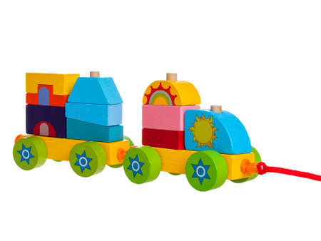 children's toy wooden train constructor, collapsible, for kids development of motor skills and mental abilities, isolated on a white background Stock fotó