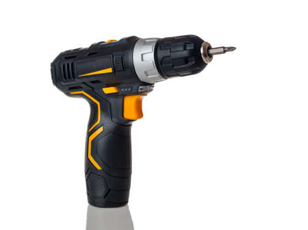 electric cordless screwdriver drill isolated on white background, professional home repair tool, hand power tool, copy space, mock up, design 免版税图像