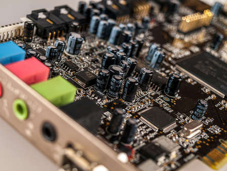 professional computer device external sound card for playback and recording, mixer, audio inputs and audio outputs, selective focus 免版税图像