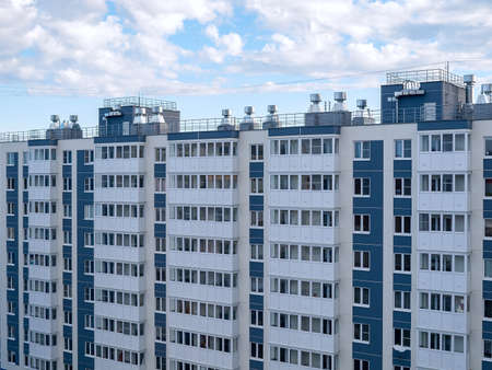 view of multi-apartment multi-storey residential building, panel monolithic new building, renovation, new residential areas in cities