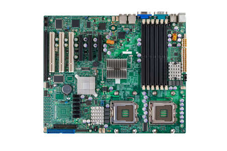 printed circuit motherboard for the server computer workstation, two-processor system isolated on a white background, computer Assembly and repair, selection of computer components